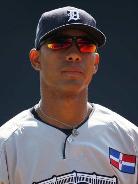 NEW YORK - JULY 13: Wilkin Ramirez of the Detroit Tigers playing for the World Futures Team during the 2008 XM All-Star Futures Game at Yankee Stadium on July 13, 2008 in the Bronx borough of New York City.  (Photo by Chris McGrath/Getty Images)