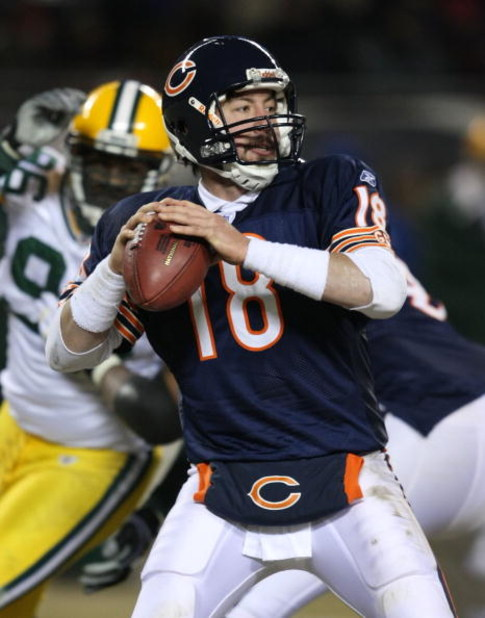 CHICAGO - DECEMBER 22: Kyle Orton #18 of the Chicago Bears looks for a receiver against the Green Bay Packers on December 22, 2008 at Soldier Field in Chicago, Illinois. The Bears defeated the Packers 20-17 in overtime. (Photo by Jonathan Daniel/Getty Ima