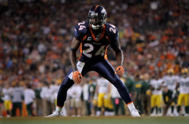 DENVER - OCTOBER 29:  Champ Bailey #24 of the Denver Broncos defends against the Green Bay Packers at Invesco Field at Mile High on October 29, 2007 in Denver, Colorado. The Packers defeated the Broncos 19-13 in overtime.  (Photo by Doug Pensinger/Getty I