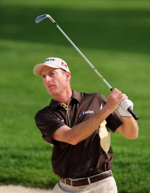 AKRON, OH - AUGUST 04:  Jim Furyk of USA plays a shot during a practice round of the World Golf Championship Bridgestone Invitational on August 4, 2009 at Firestone Country Club in Akron, Ohio.  (Photo by Stuart Franklin/Getty Images)