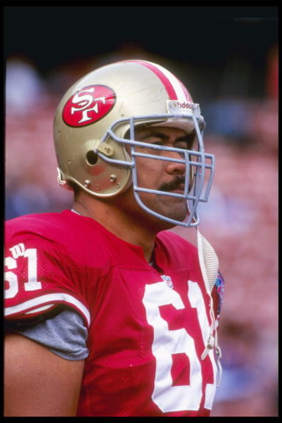 26 Aug 1994:  Offensive lineman Jesse Sapolu of the San Francisco 49ers looks on during a preseason game against the Seattle Seahawks at Candlestick Park in San Francisco, California.  The 49ers won the game, 13-9. Mandatory Credit: Otto Greule Jr.  /Alls