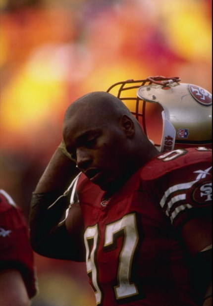 7 Dec 1997:  Bryant Young #97 of the San Francisco 49ers looks on during a game against the Minnesota Vikings at 3Com Park in San Francisco, California. The 49ers defeated the Vikings 28-17. Mandatory Credit: Otto Greule Jr.  /Allsport