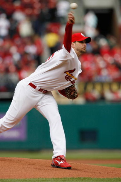 ST. LOUIS - APRIL 6:  Adam Wainwright #50 of the St. Louis Cardinals bats against the Pittsburgh Pirates during Opening Day on April 6, 2009 at Busch Stadium in St. Louis, Missouri.  The Pirates beat the Cardinals 6-4. (Photo by Dilip Vishwanat/Getty Imag