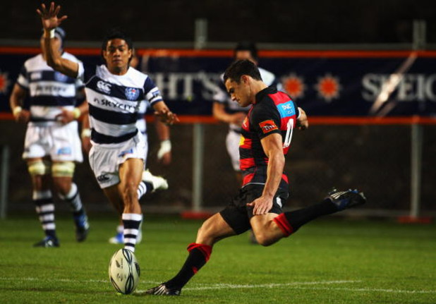 AUCKLAND, NEW ZEALAND - AUGUST 08:  Dan Carter of Canterbury kicks a conversion during the Air New Zealand Cup match between Auckland and Canterbury at Eden Park on August 8, 2009 in Auckland, New Zealand.  (Photo by Phil Walter/Getty Images)