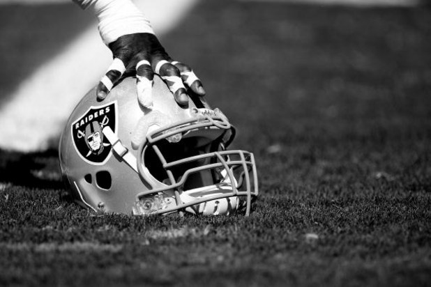 NAPA, CA - AUGUST 5: (EDITORS NOTE: THIS IMAGE HAS BEEN CONVERTED TO BLACK AND WHITE) A detail of a helmet during the Oakland Raiders Training Camp at the Napa Valley Marriott on August 5, 2009 in Napa, California. (Photo by Jed Jacobsohn/Getty Images)