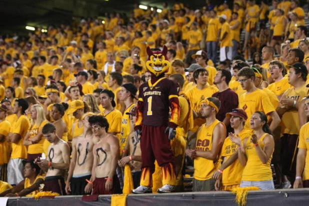 TEMPE, AZ - SEPTEMBER 20:  Arizona State Sun Devils mascot Sparky stands with the student section during hte game with  the Georgia Bulldogs  on September 20, 2008 at Sun Devil Stadium in Tempe, Arizona.  Georgia won 27-10.  (Photo by Stephen Dunn/Getty I