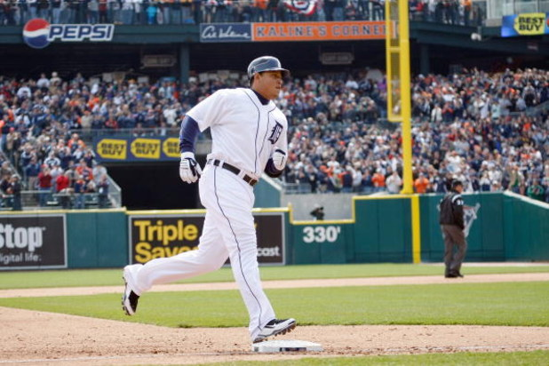 DETROIT - APRIL 10:  Miguel Cabrera #24 of the Detroit Tigers runs the bases against the Texas Rangers during Opening Day on April 10, 2009 at Comerica Park in Detroit, Michigan. Detroit won the game 15-2. (Photo by Gregory Shamus/Getty Images)