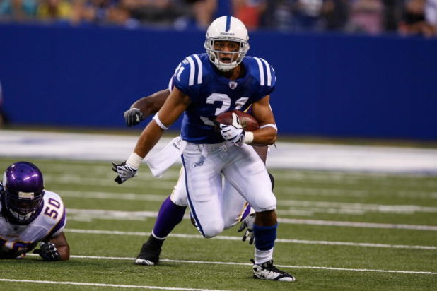 INDIANAPOLIS, IN - AUGUST 14: Running back Donald Brown #31 of the Indianapolis Colts runs with the football against the Minnesota Vikings at Lucas Oil Stadium on August 14, 2009 in Indianapolis, Indiana. (Photo by Scott Boehm/Getty Images)