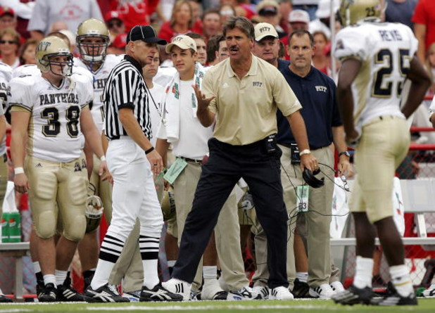 LINCOLN, NE - SEPTEMBER 17:  Head coach Dave Wannstedt of the Pittsburgh Panthers reacts to a pass interference call against his defense in favor of the Nebraska Cornhuskers late in the fourth quarter on September 17, 2005 at Memorial Stadium in Lincoln,