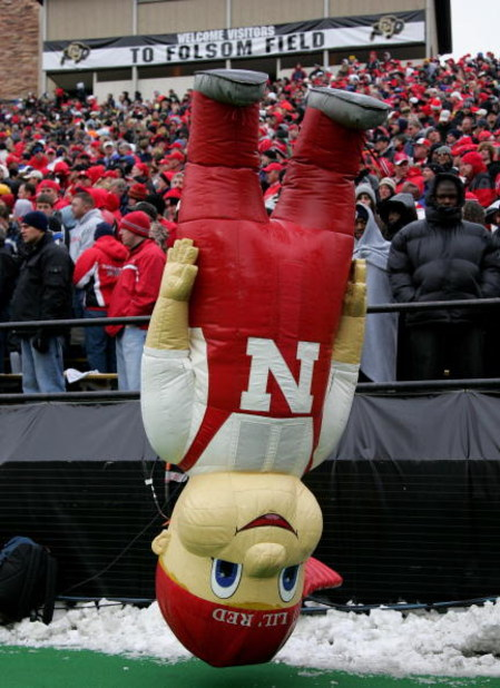 BOULDER, CO - NOVEMBER 23:  Mascot Lil' Red was turned upside down as the Nebraska Cornhuskers were defeated by the Colorado Buffaloes during Big 12 College Football action at Folsom Field on November 23, 2007 in Boulder, Colorado. Colorado defeated Nebra