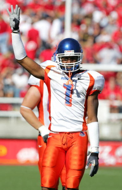 SALT LAKE CITY - SEPTEMBER 30:  Jerard Rabb #1 of the Boise State Broncos celebrates the win, bringing their record to 5-0 for the season, against the Utah Utes at Rice-Eccles Stadium on September 30, 2006 in Salt Lake City, Utah. The Broncos of Boise Sta