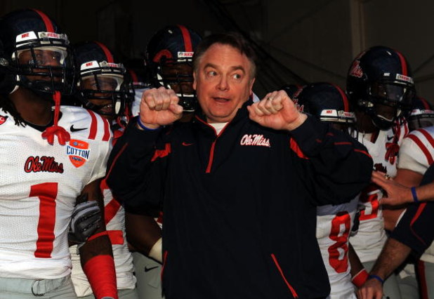 DALLAS - JANUARY 02:  Head coach Houston Nutt of the Mississippi Rebels before a game against the Texas Tech Red Raiders during the AT&T Cotton Bowl on January 2, 2009 at the Cotton Bowl in Dallas, Texas.  (Photo by Ronald Martinez/Getty Images)