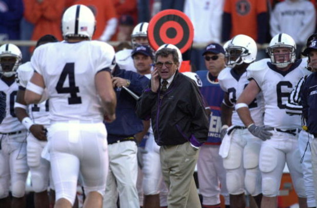 10 Nov 2001: Head coach Joe Paterno of Penn State shouts instructions to quarterback Matt Senneca #4 of Penn State in action at Memorial Stadium in Champaign, IL. Illinois defeated Penn State 33-28. DIGITAL IMAGE Mandatory Credit: Jonathan Daniel/ALLSPORT