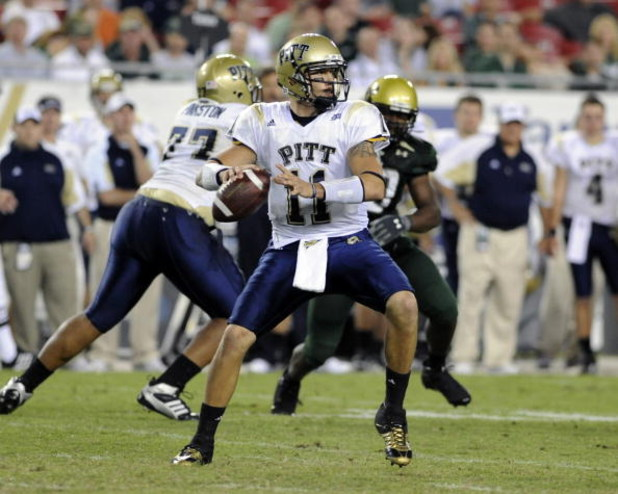 TAMPA, FL - OCTOBER 2: Quarterback Bill Stull #11 of the Pittsburgh Panthers sets to pass against the University of South Florida Bulls at Raymond James Stadium on October 2, 2008 in Tampa, Florida.  (Photo by Al Messerschmidt/Getty Images)