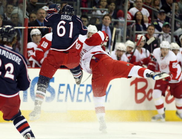 COLUMBUS, OH - APRIL 23:  Rick Nash #61 of the Columbus Blue Jackets collides with Valtteri Filppula #51 of the Detroit Red Wings during Game Four of the Western Conference Quarterfinals of the 2009 Stanley Cup Playoffs on April 23, 2009 at the Nationwide