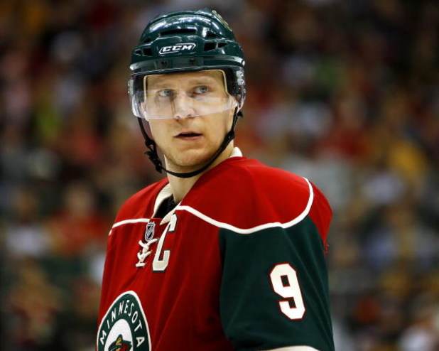 ST. PAUL, MN - MARCH 22: Mikko Koivu #9 of the Minnesota Wild looks on against the Edmonton Oilers on March 22, 2009 at the Xcel Energy Center in St. Paul, Minnesota. (Photo by Scott A. Schneider/Getty Images)