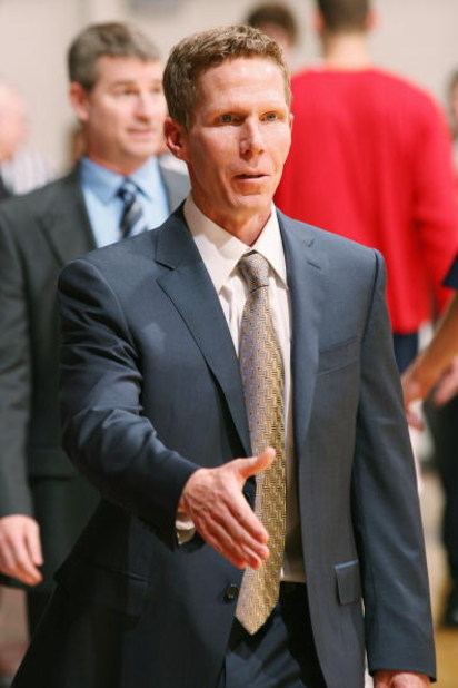 WESTCHESTER, CA - JANUARY 24: Head coach Mark Few of the Gonzaga Bulldogs greets the opposing coaching staff before the game against the Loyola Marymount Lions on January 24, 2009 at Gersten Pavilion in Westchester, California.  Gonzaga won 93-60.  The wi