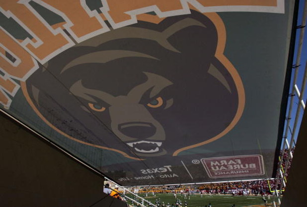 WACO, TX - OCTOBER 04:  The Baylor Bears logo before a game against the Oklahoma Sooners at Floyd Casey Stadium on October 4, 2008 in Waco, Texas.  (Photo by Ronald Martinez/Getty Images)