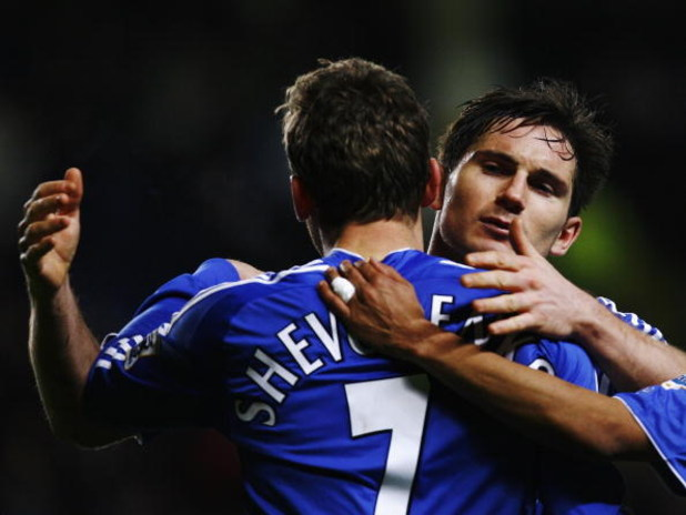 LONDON - JANUARY 23:  Frank Lampard (R) of Chelsea celebrates with team mate Andriy Shevchenko after Shevchenko scores his sides second goal during the Carling Cup Semi Final 2nd leg match between Chelsea and Wycombe Wanderers at Stamford Bridge on Januar