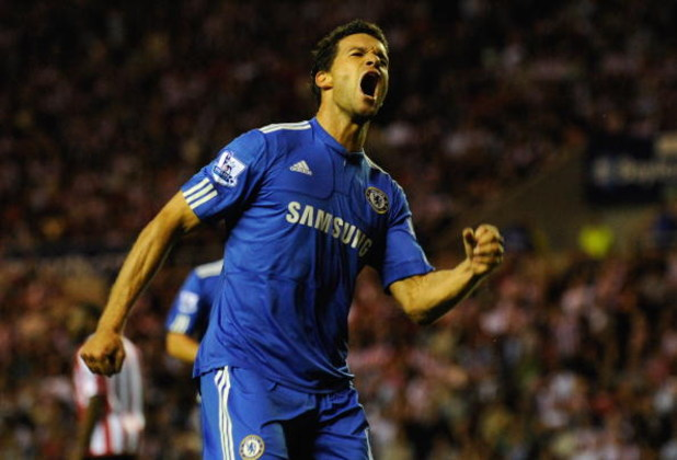 SUNDERLAND, ENGLAND - AUGUST 18:  Michael Ballack of Chelsea celebrates scoring an equalising goal during the Barclays Premier League match between Sunderland and Chelsea at the Stadium of Light on August 18, 2009 in Manchester, England.  (Photo by Michae