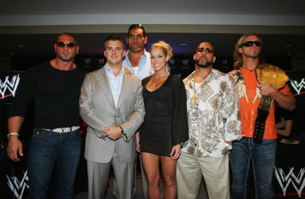 SYDNEY, AUSTRALIA - JUNE 15:  (L-R) WWE World Heavyweight Champion Batista, WWE Executive Vice President Shane McMahon, and WWE wrestlers The Great Khali, Michelle McCool, MVP and Edge pose during the WWE Smackdown Photo Call at the Sheraton on the Park H