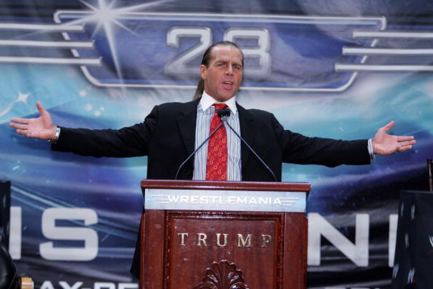 NEW YORK - MARCH 28:  Wrestler Shawn Michaels speaks at the press conference held by Battle of the Billionaires to announce details of Wrestlemania 23 at Trump Tower on March 28, 2007 in New York City.  (Photo by Bryan Bedder/Getty Images)