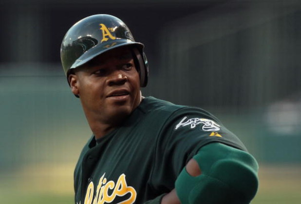 ANAHEIM, CA - APRIL 29:   Frank Thomas #35 of the Oakland Athletics waits on deck during the game against the Los Angeles Angels of Anaheim at Angels Stadium on April 29, 2008 in Anaheim, California.  (Photo by Lisa Blumenfeld/Getty Images)