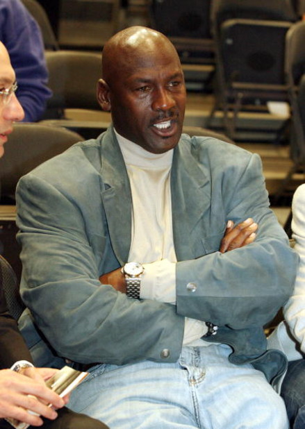 NEW YORK - NOVEMBER 5:  Michael Jordan, Co-owner of the Charlotte Bobcats, sits courtside at the New York Knicks game against the Bobcats November 5, 2008 at Madison Square Garden in New York City. (Photo by Neil Miller-Pool/Getty Images)