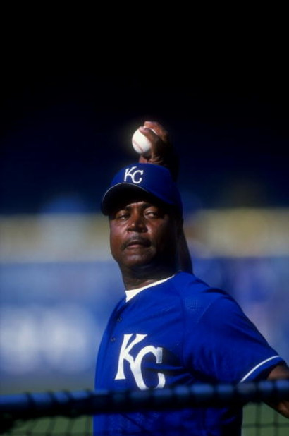 13 Jul 1998: Coach Frank White #20 of the Kansas City Royals works out in the batting cage during the game against the Detroit Tigers at Tiger Stadium in Detroit, Michigan. The Royals defeated the Tigers 6-4.