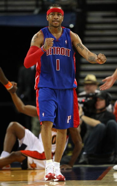 OAKLAND, CA - NOVEMBER 13: Allen Iverson #1 of the Detroit Pistons celebrates in the third quarter against the Golden State Warriors during an NBA game on November 13, 2008 at Oracle Arena in Oakland, California. NOTE TO USER: User expressly acknowledges