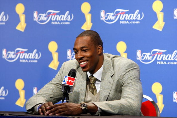 ORLANDO, FL - JUNE 14:  Dwight Howard #12 of the Orlando Magic speaks to the media after the Magic lost to the Los Angeles Lakers in Game Five of the 2009 NBA Finals on June 14, 2009 at Amway Arena in Orlando, Florida.  The Lakers won 99-86.  NOTE TO USER