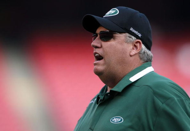 EAST RUTHERFORD, NJ - AUGUST 14:  Head coach of the New York Jets Rex Ryan during warms up against the St. Louis Rams during their preseason game at Giants Stadium on August 14, 2009  in East Rutherford, New Jersey.  (Photo by Nick Laham/Getty Images)