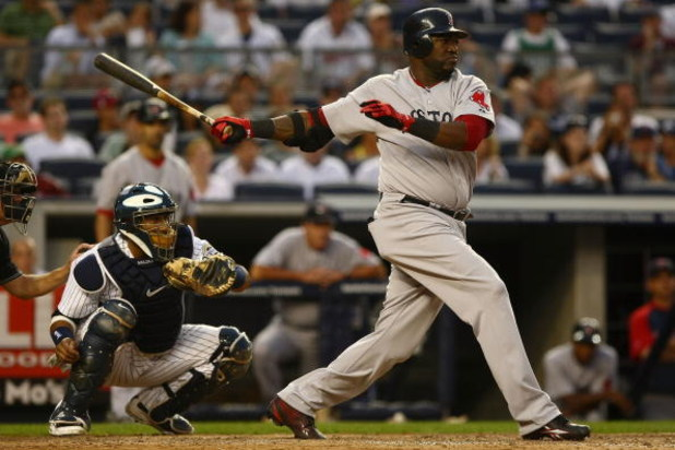 NEW YORK - AUGUST 08:  David Ortiz #34 of the Boston Red Sox at bat against the New York Yankees of the Boston Red Sox during their game on August 8, 2009 at Yankee Stadium in the Bronx borough of New York City.  (Photo by Chris McGrath/Getty Images)