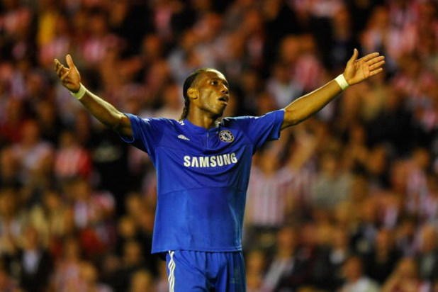 SUNDERLAND, ENGLAND - AUGUST 18:  Didier Drogba of Chelsea gestures during the Barclays Premier League match between Sunderland and Chelsea at the Stadium of Light on August 18, 2009 in Manchester, England. (Photo by Michael Regan/Getty Images)