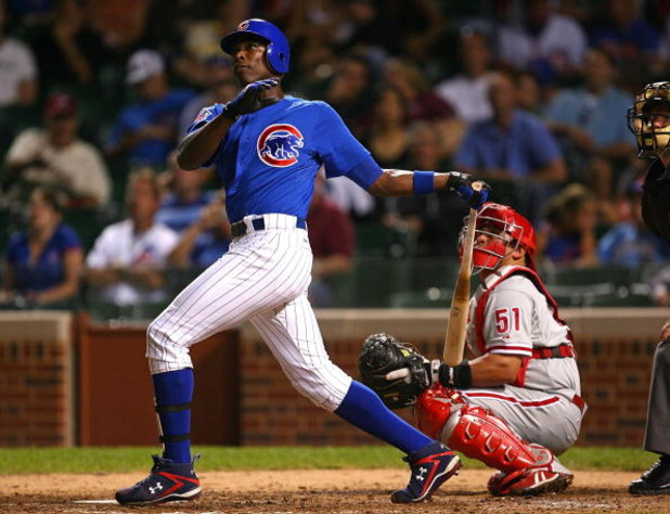 CHICAGO - AUGUST 12: Alfonso Soriano #12 of the Chicago Cubs watches the flight of the ball against the Philadelphia Phillies on August 12, 2009 at Wrigley Field in Chicago, Illinois. The Phillies defeated the Cubs 12-5. (Photo by Jonathan Daniel/Getty Im