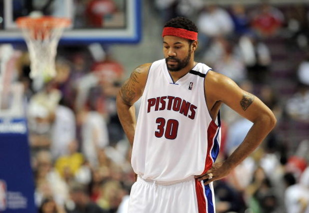 AUBURN HILLS, MI - APRIL 24:  Rasheed Wallace #30 of the Detroit Pistons looks on while playing the Cleveland Cavaliers in Game Three of the Eastern Conference Quarterfinals during the 2009 NBA Playoffs at the Palace of Auburn Hills on April 24, 2009 in A