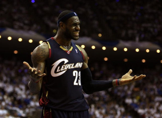 ORLANDO, FL - MAY 30:  LeBron James #23 of the Cleveland Cavaliers reacts after a play against the Orlando Magic in Game Six of the Eastern Conference Finals during the 2009 Playoffs at Amway Arena on May 30, 2009 in Orlando, Florida. NOTE TO USER: User e