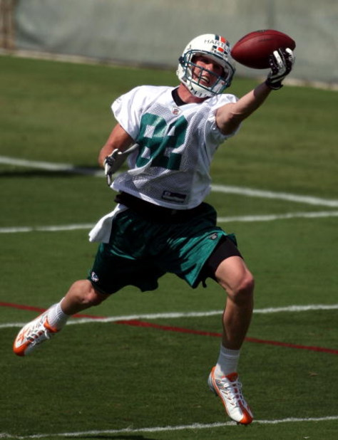 DAVIE, FL - MAY 02:  Rookie wide receiver Brian Hartline #82 of the Miami Dolphins catches a ball during mini camp on May 2, 2009 at the Miami Dolphins Training facility in Davie, Florida.  (Photo by Marc Serota/Getty Images)