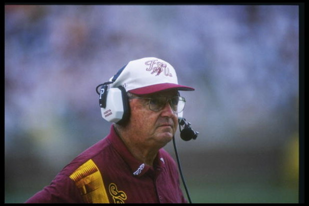 28 Sep 1996: Head Coach Bobby Bowden of Florida State University during the Seminoles 13-0 win over the University of North Carolina at Doak Campbell Stadium in Tallahassee, Florida.