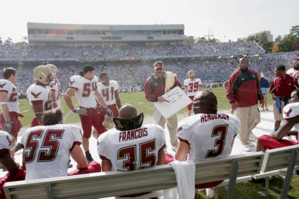 CHAPEL HILL, NC - NOVEMBER 5:  Defensive coordinator Frank Spaziani of the Boston College Eagles talks to players on the sideline against the North Carolina Tar Heels at Kenan Stadium on November 5, 2005 in Chapel Hill, North Carolina. North Carolina won