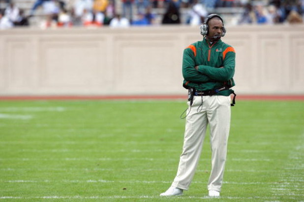 DURHAM, NC - OCTOBER 18:  Head coach Randy Shannon of the Miami Hurricanes stands on the field during the game against the Duke Blue Devils at Wallace Wade Stadium on October 18, 2008 in Durham, North Carolina.  (Photo by Kevin C. Cox/Getty Images)