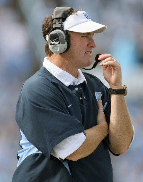 CHAPEL HILL - OCTOBER 25: Head coach Butch Davis of the North Carolina Tar Heels watches the action during the game against the Boston College Eagles at Kenan Stadium on October 25, 2008 in Chapel Hill, North Carolina. (Photo by: Streeter Lecka/Getty Imag