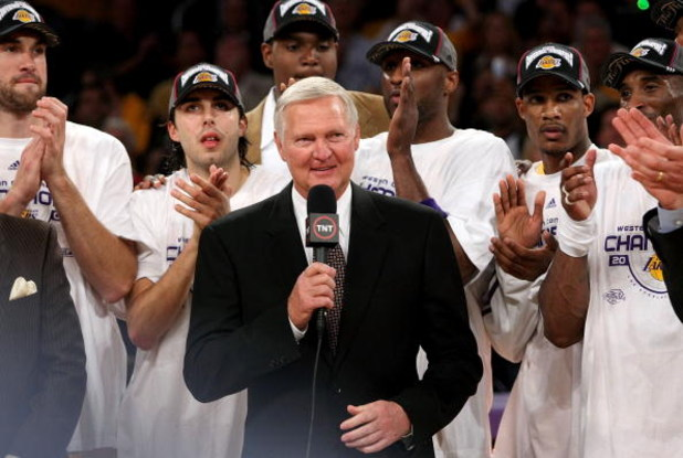 LOS ANGELES, CA - MAY 29:  Los Angeles Lakers legend Jerry West addresses the crowd after the Lakers defeated the San Antonio Spurs in Game Five of the Western Conference Finals during the 2008 NBA Playoffs on May 29, 2008 at Staples Center in Los Angeles