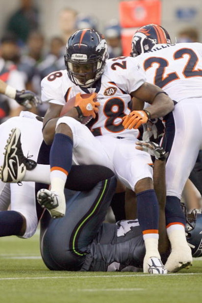 SEATTLE - AUGUST 22:  Correll Buckhalter #28 of the Denver Broncos carries the ball during the game against the Seattle Seahawks on August 22, 2009 at Qwest Field in Seattle, Washington. (Photo by Otto Greule Jr/Getty Images)
