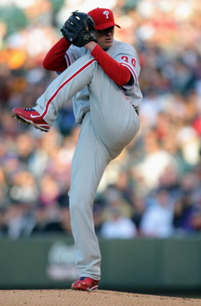 DENVER - APRIL 11:  Starting pitcher Brett Myers #39 of the Philadelphia Phillies delivers against the Colorado Rockies during MLB action at Coors Field on April 11, 2009 in Denver, Colorado. Meyers earned the win as the Phillies defeated the Rockies 8-4.
