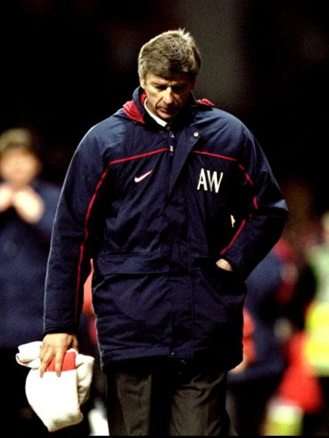 14 Apr 1999:  A disappointed Arsenal manager Arsene Wenger trudges off after defeat in the FA Cup semi-final replay against Manchester United at Villa Park in Birmingham, England. United won 2-1 after extra-time. \ Mandatory Credit: Clive Brunskill /Allsp