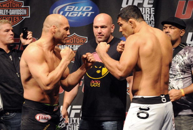 PORTLAND, OR - AUGUST 28: UFC heavyweight fighter Randy Couture squares off with UFC heavyweight fighter Antonio Rodrigo Nogueira at the UFC 102: Couture vs. Nogueira Weigh-In at the Rose Garden Arena on August 28, 2009 in Portland, Oregon. (Photo by Jon
