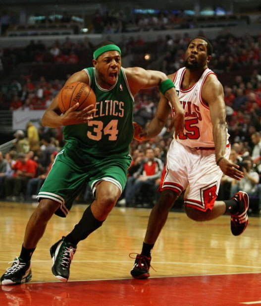 CHICAGO - APRIL 30: Paul Pierce #34 of the Boston Celtics drives past John Salmons #15 of the Chicago Bulls in Game Six of the Eastern Conference Quarterfinals during the 2009 NBA Playoffs at the United Center on April 30, 2009 in Chicago, Illinois. The B