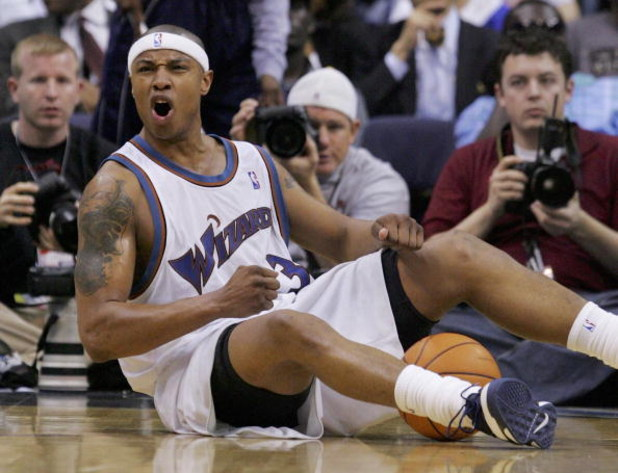 WASHINGTON - MAY 05:  Caron Butler #3 of the Washington Wizards reacts to a call in game six of the Eastern Conference Quarterfinals against the Cleveland Cavaliers during the 2006 NBA Playoffs on May 5, 2006 at the Verizon Center in Washington, DC. The C