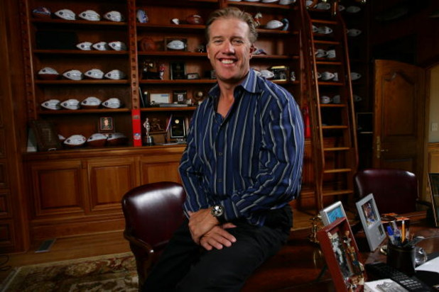 DENVER - JUNE 21:  John Elway poses at his home on June 21, 2005 in Denver, Colorado. (Photo by Doug Pensinger/Getty Images for Octagon)